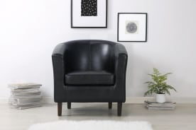 Shangri-La Myrna PU Leather Tub Armchair (Black)