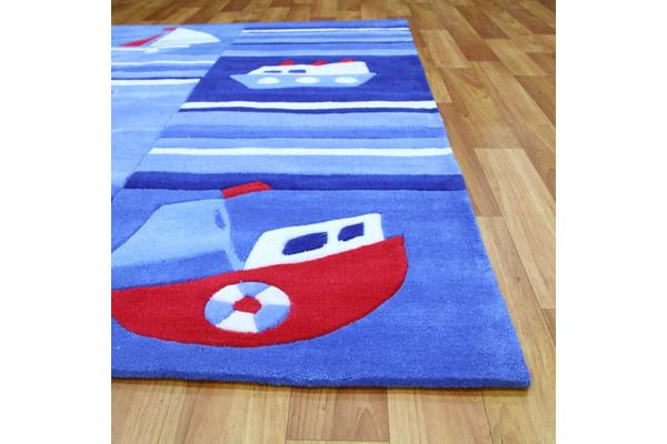 Super Fun Ships and Boats Rug Blue 165x115cm