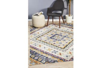 Ivory & Rust Diamond Vintage Look Rug 230X160cm