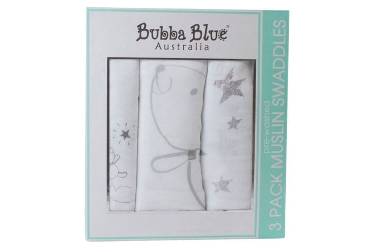 3pc Bubba Blue Wish Upon A Star 120cm Cotton Muslin Wrap/Swaddles Baby White