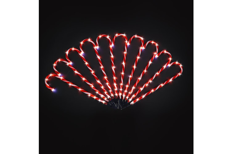 10 LED Christmas Candy Cane String Lights - White & Twinkling