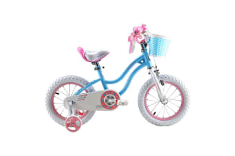 RoyalBaby Girls Kids Bike Stargirl 12'' Bicycle Child's Cycle with Basket, 12 inch incl Training Wheels Blue