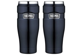 2x Thermos 470ml Vacuum Insulated Stainless Steel King Tumbler Mug Midnight Blue