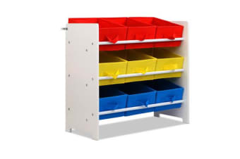 9 Bin Kids Wooden Storage Cabinet Bookshelf