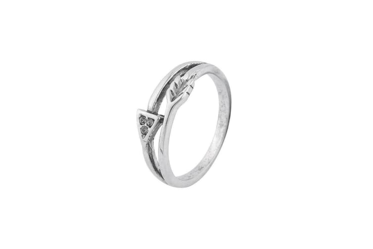 Intrigue Womens/Ladies Vintage Look Arrow Ring (Silver) (18mm)
