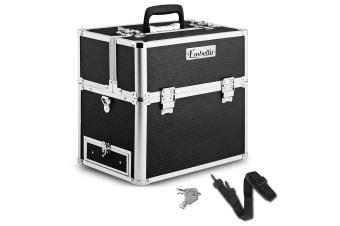 Portable Cosmetic Beauty Carry Case Box with Mirror (Black Striped)