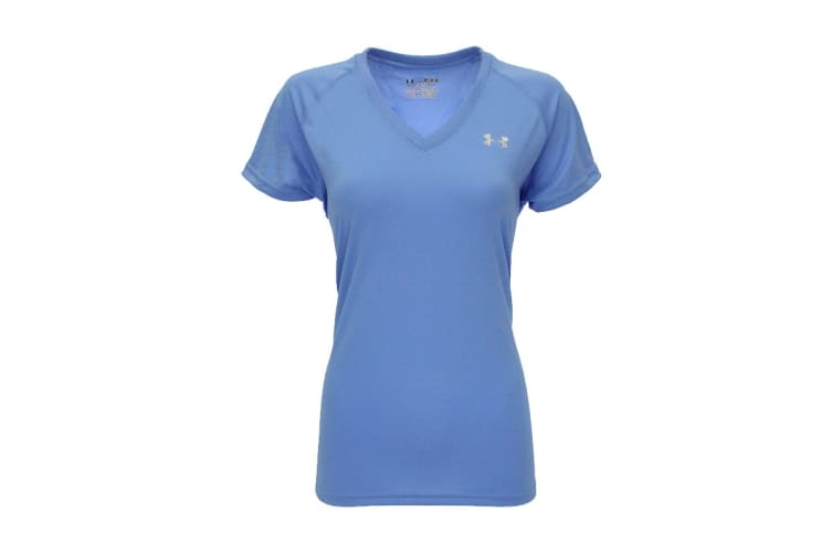 Under Armour Women's UA Tech V-Neck T-Shirt (Carolina Blue/Steel, Size XS)