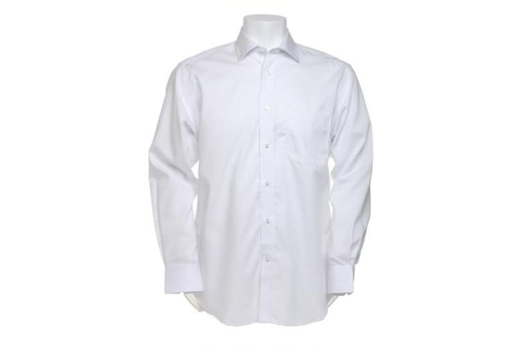 Kustom Kit Mens Premium Non Iron Long Sleeve Shirt (White) (17inch)