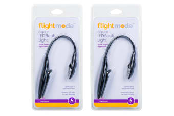 2x FlightMode Portable Travel Flexible Neck LED Clamp Clip-On Reading Book Light