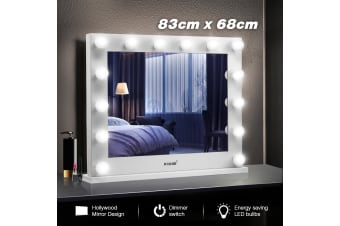 Maxkon Hollywood Style Makeup Mirror 14 LED Lights Vanity Mirror w/Dimmer Control - White