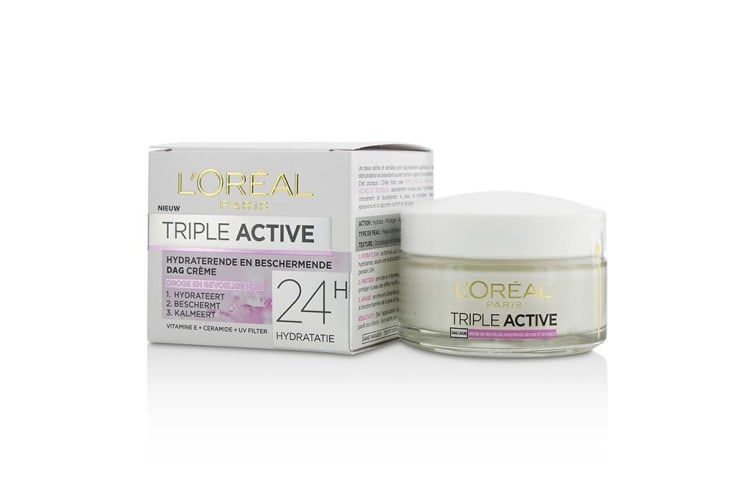 L'Oreal Triple Active Multi-Protective Day Cream 24H Hydration - For Dry/ Sensitive Skin 50ml