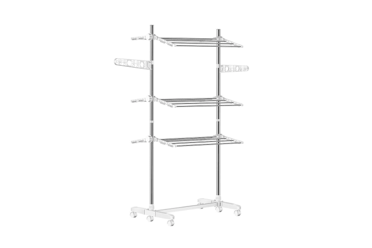 Luxsuite Adjustable And Foldable Clothes Drying Rack With 6 Wheels