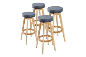 4x Oak Wood Bar Stool 74cm Fabric OLIVIA - GREY