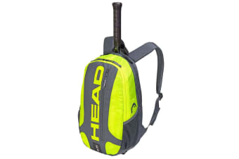 Head Elite Tennis Backpack/Carry Sports Bag for Racquet/Racket Grey/Neon Yellow