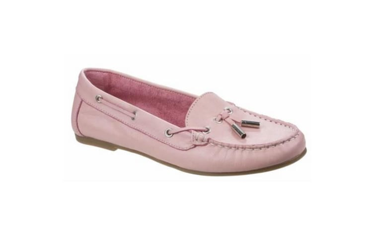 Riva Womens/Ladies Ostuni Slip On Leather Moccasins (Pink) (8 UK)