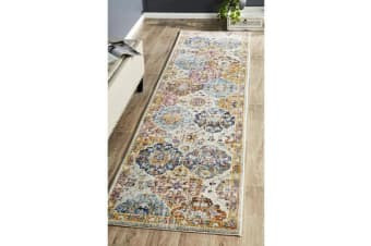 Hazel Multi Durable Moroccan Tile Runner Rug 400x80cm