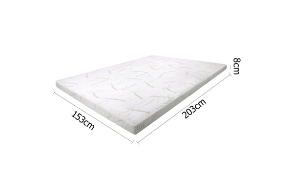 Cool Gel Memory Foam Mattress Topper with Bamboo Fabric Cover 8cm (Queen)