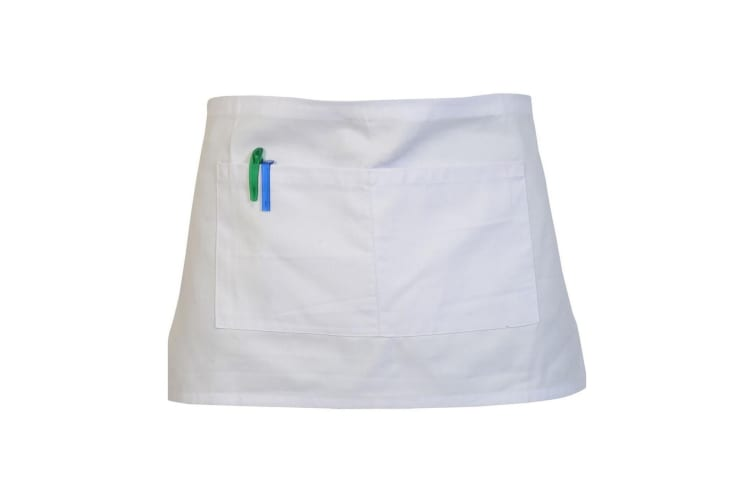 Absolute Apparel Adults Workwear Waist Apron With Pocket (Pack of 2) (White) (One Size)