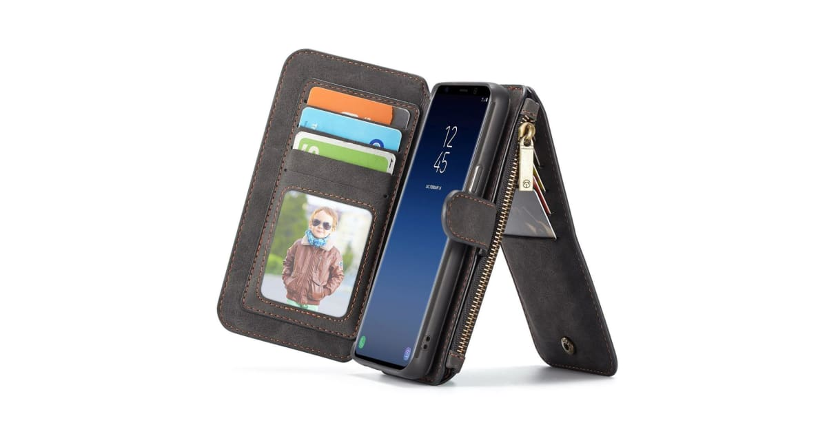 new product 7f8a8 08723 Black Retro Horse Texture Detachable Leather Wallet For Galaxy S9 PLUS Case  | Phone Cases