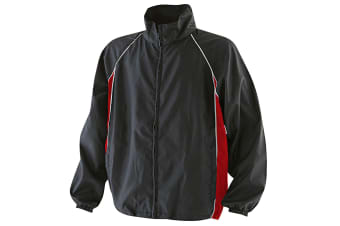 Finden & Hales Mens Piped Showerproof Full Zip Sports Training Jacket (Black/Red/White) (S)