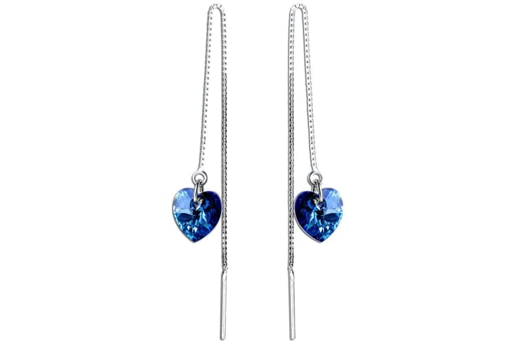 .925 Majestic Hearts Swarovksi Threaders-Silver/Blue