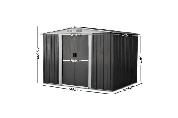 2.05 x 2.57M Steel Garden Shed with Roof (Grey)