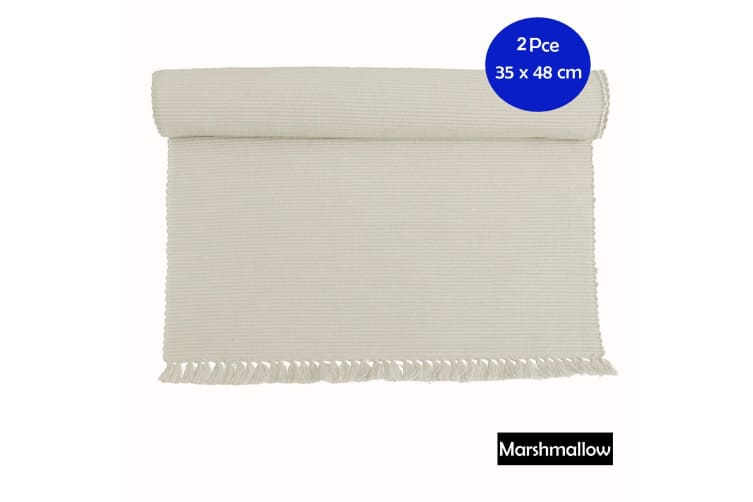 Set of 2 - Cotton Ribbed Placemats - MARSHMALLOW by Hoydu