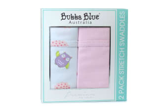 2pc Bubba Blue Girl Baby Owl & Jersey Wrap Pink Stretch Swaddles For Baby/Infant