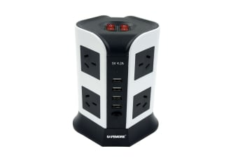 Safemore VPS Euro Power Stackr 2 Level with 8 Power Outlets & 4 USB - White/Black (OL4U8GBP-WB)