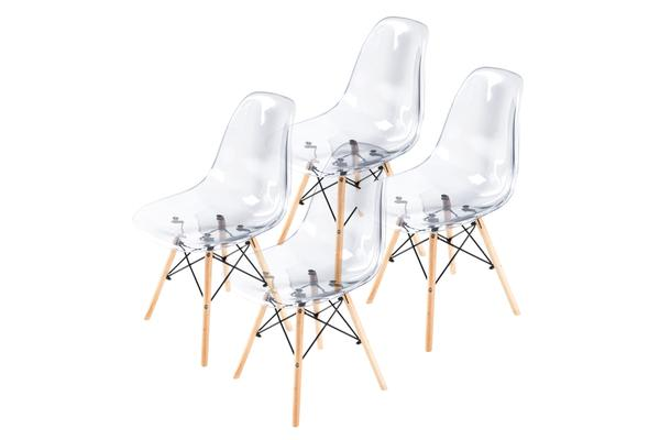 Replica Eames DSW Dining Chair - Crystal Clear X4