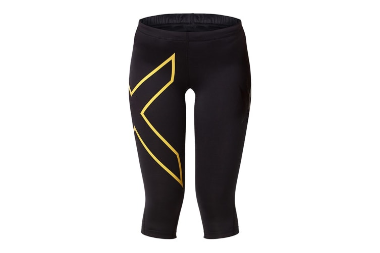 2XU Women's 3/4 Compression Tights G1 (Black/Soft Sun, Size S)