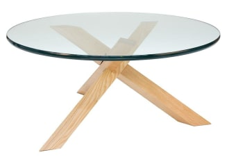 Replica Petar Zaharinov Puzzle Round Glass Coffee Table | Natural