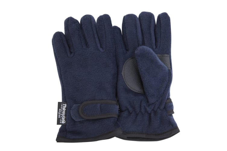FLOSO Childrens/Kids Thermal Thinsulate Fleece Gloves With Palm Grip (3M 40g) (Navy) (12/13 Yrs)