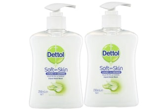 2pc Dettol 250ml Liquid Hand Wash Soap Antibacterial w/ Aloe Vera/Vitamin E/Pump