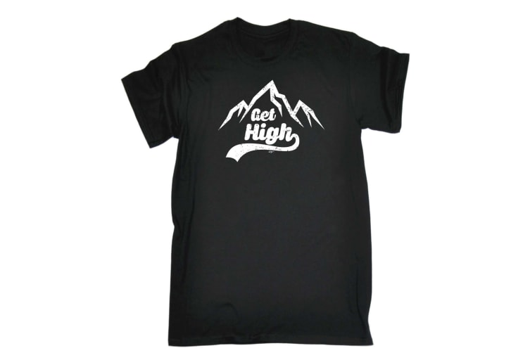 123T Funny Tee - Get High - (X-Large Black Mens T Shirt)
