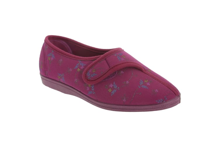Sleepers Womens/Ladies Dora Touch Fastening Floral Slippers (Wine) (3 UK)