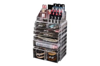 Cosmetic 7/8//9/10/11 Drawer Makeup Organizer Storage Jewellery Box Acrylic  -  8 Drawers(A)