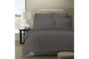 Royal Comfort 1200TC Quilt Cover Set Damask Cotton Blend Luxury Sateen Bedding - Queen - Charcoal Grey