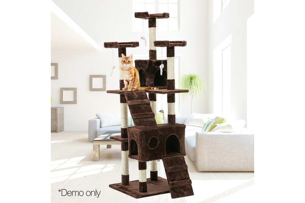 i.Pet Cat Scratching Tree Post Sisal Pole Toy Furniture Multi level 180cm Brown