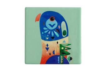 Maxwell & Williams 9.5cm Pete Cromer Ceramic Lorikeet Square Tile Drink Coaster