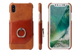 For iPhone XS X Case Fierre Shann Modern Ring Holder Genuine Leather Cover Brown