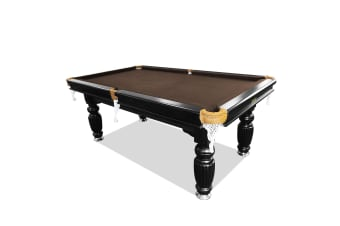 7FT Luxury Slate Pool Table Solid Timber Billiard Table Professional Snooker Game Table with Accessories Pack,Black Frame / Coffee Felt
