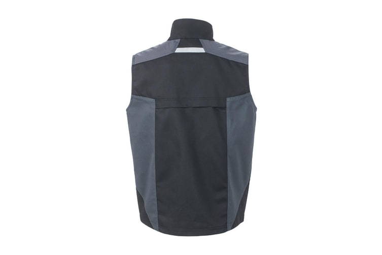 James and Nicholson Unisex Workwear Vest (Black/Carbon Grey) (L)