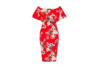 Girls On Film Womens/Ladies Off The Shoulder Bodycon Dress (Red)