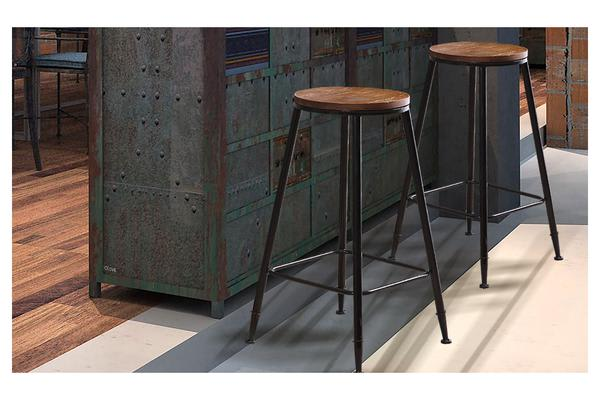 2x Vintage Industry Rustic Bar Stool Round Wood Seat