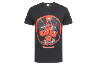 Marvel Official Mens Deadpool Arms Crossed T-Shirt (Black)