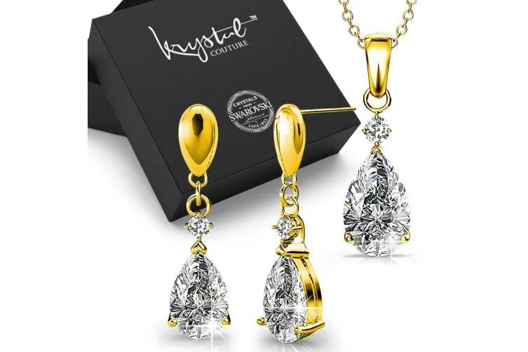 Boxed Pretty Anastacia Necklace And Earrings Set Gold Embellished with Swarovski crystals