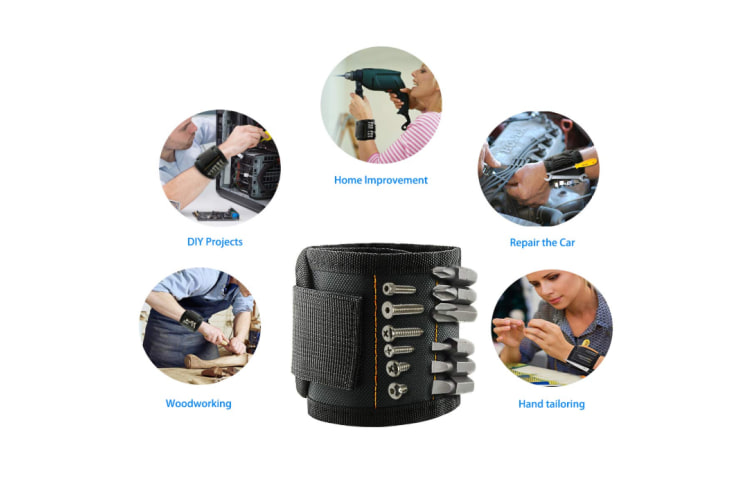 Magnetic Wristband With 15 Strong Magnets for Holding Tools Screws, Nails, Bolts, Scissors, Drill Bits