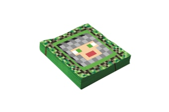 Bristol Novelty Pixelated Medieval Party Napkins (Pack Of 16) (Green/Grey) (25cm)