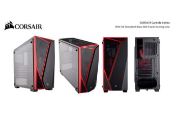 Corsair Carbide Series SPEC-04 Tempered Glass Mid-Tower Gaming Case, Black and Red